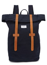 Sandqvist Navy Canvas Backpack Blue