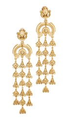 Oscar De La Renta Charm Clip On Chandelier Earrings Gold