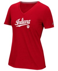 Adidas Women's Indiana Hoosiers Lined Logo T Shirt Red