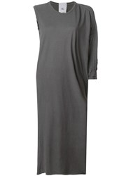 Lost And Found Rooms Asymmetric Sleeve Flared Dress Grey
