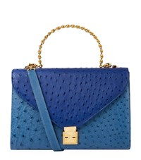 Lana Marks Frozen Chain Top Handle Ostrich Bag Female Blue