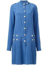 Balmain Pierre Military Shirt Dress Blue