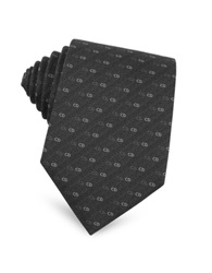 Christian Dior Small Logo Woven Silk Tie Black