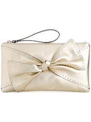 Red Valentino Studded Bow Clutch Women Leather Metal One Size Metallic