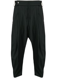 Odeur Drop Crotch Pinstriped Trousers Black