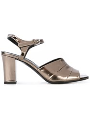Jil Sander Peep Toe Sandals Women Leather 36 Metallic