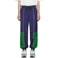 Maison Kitsune Navy And Green Ader Error Edition Line Track Pants