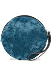 Maison Martin Margiela Mm6 Faux Leather Trimmed Faux Fur Clutch Petrol