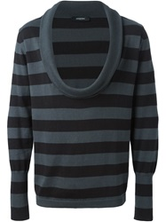 Unconditional Striped Cowl Neck Sweater Grey