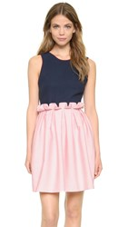 Mother Of Pearl Lola Open Back Frill Dress Navy Pink