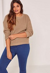 Missguided Plus Size Brown Crew Neck Jumper Taupe