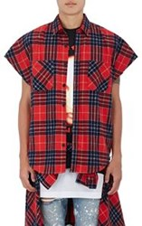 Purpose Tour Xo Barneys New York Men's Brushed Flannel Sleeveless Shir Red
