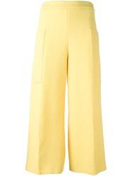 Msgm Wide Legged Cropped Trousers Yellow Orange