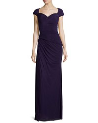 La Femme Cap Sleeve Ruched Sweetheart Gown Plum