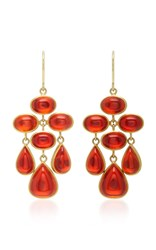 Mallary Marks Trapeze 18K Gold Cabochon Fire Opal Earrings Orange
