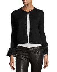 Nanette Nanette Lepore Shrug Cardigan With Crochet And Lace Trim Black