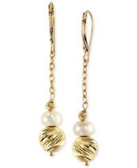 Effy Collection Effy Cultured Freshwater Pearl Drop Earrings In 14K Gold 6Mm Black