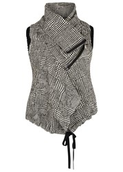 Crea Concept Checked Draped Wool Blend Gilet Black And White