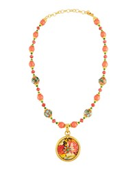 Jose And Maria Barrera Cloisonne Beaded Necklace W Floral Decoupage Pendant Multi