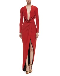 J. Mendel Long Sleeve Draped Silk Wrap Gown