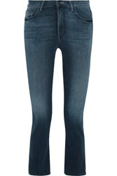 Mother The Insider Crop Mid Rise Bootcut Jeans Dark Denim