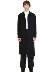 Loewe Asymmetric Wool And Cashmere Bicolor Coat Black