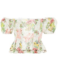 Brock Collection Exclusive To Mytheresa Oarsman Floral Silk Blend Top White
