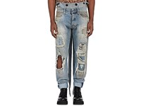 Faith Connexion Men's Distressed Overalls Blue