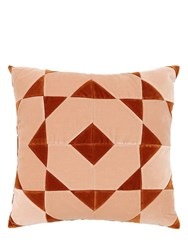 Christina Lundsteen Hannah Square Cotton Velvet Pillow Orange