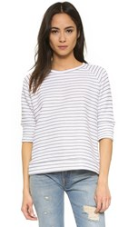 Lna Hacienda Sweatshirt White Navy Stripe