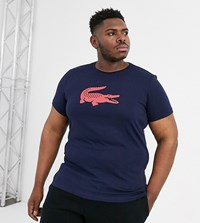 Lacoste Sport Big Croc Chest Logo T Shirt In Navy