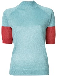 Undercover Roll Neck Glitter Top Blue