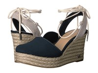 Michael Michael Kors Margie Closed Toe Wedge Admiral Small Weave Canvas Hemp Women's Shoes Navy