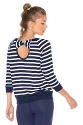 Beyond Yoga X Kate Spade Bow Cut Sweatshirt Navy