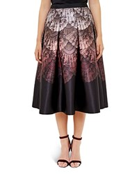 Ted Baker Ombre Fan Print Midi Skirt Black