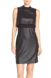 Women's French Connection Sleeveless Popover Body Con Dress Black