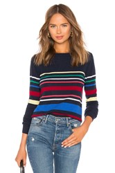 Autumn Cashmere Multi Stripe Boatneck Sweater Navy