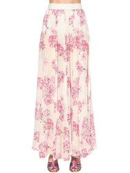 Giambattista Valli Long Floral Print Silk Georgette Skirt White Pink