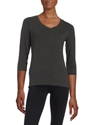 Lord And Taylor Petite V Neck Tee Charcoal Heather