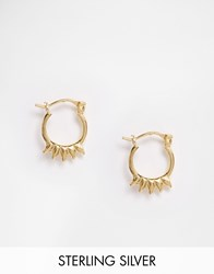 Asos Gold Plated Sterling Silver Mini Spike Hoop Earrings Gold