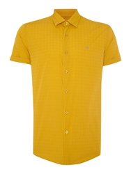 Peter Werth Drayton Check Slim Fit Short Sleeve Button Down S Yellow