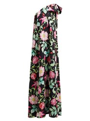 Andrew Gn Pomegrante And Floral Print Asymmetric Silk Gown Black Multi