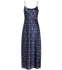 Vince Printed Silk Satin Slip Dress Blue