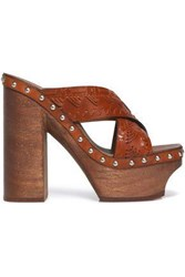 Roberto Cavalli Studded Woven Leather Platform Mules Tan