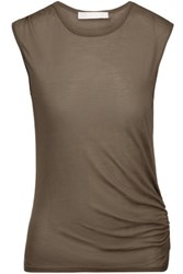Kain Label Vernon Ruched Modal And Silk Blend Tank Army Green