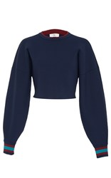 Tibi Jacquard Cropped Sweater Navy
