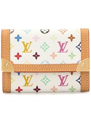 Louis Vuitton Vintage Porte Monnaie Plat Coin Case Wallet White