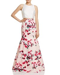 Aqua Floral Print Two Piece Gown Ivory Pink