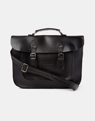 The Idle Man Leather Look Satchel Black