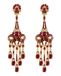 Jose And Maria Barrera Gold Plated Red Crystal Chandelier Clip On Earrings